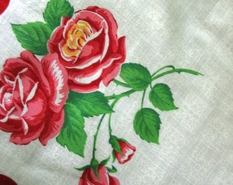 Vintage Roses Handkerchief Retro Red and White Cotton Print Hankie Ladies Purse Accessory 1950s Big Red Cabbage Roses Hanky