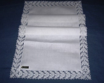 Vintage Linen & Lace Runner Pure Linen Label Unused Table Linen Centerpiece Cotton Machine Lace Edging Snow White Linen 15 by 32 1/2 In