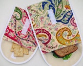 Reusable Snack Bag, Paisley Sandwich Bag Set, Organic Cotton Lunchbag