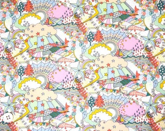 Japan Liberty tana lawn fabric - Land of Dreams B of Garden of Dreams, 2016 spring/summer additional pattern, star, whimsical, cloud