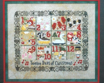 Cross Stitch Pattern / Kit - 12 days of Christmas by the Frosted Pumpkin Stitchery, Christmas cross stitch, cute Christmas, counted, 14 CT