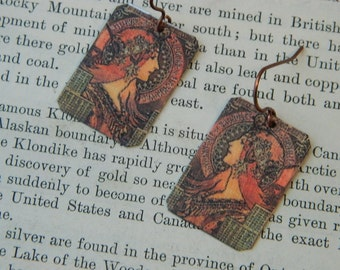 Mucha earrings Savonnerie de Bagnolet  Alphonse Mucha jewelry