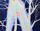 Surreal Trees, Night Scene, Landscape Painting, Sky, Stars