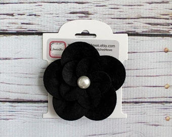 READY TO SHIP Black Felt and Pearl Hair Clip, Bow, Felted Wool, Alligator Clip, No slip Clip, Rosette, Girls Hair Clip, Baby Hair Clip