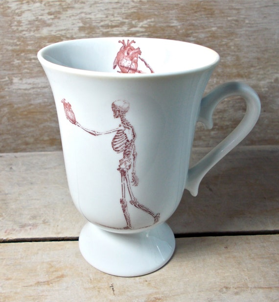 Heart in Hand Skeleton Mug, 10 oz Pedestal Mug, Valentines Day Coffee Cup, Macabre Love, Anatomical Heart, Skeleton Hand, Ready to Ship