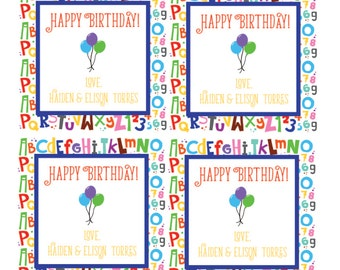 ABC Birthday Gift Tags