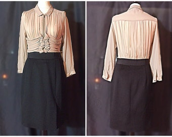 Vintage  Women Amazing Carven , Paris , Couture dress ,pencil skirt , blouse top size 4