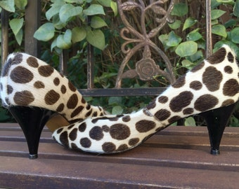 Vintage 60's Pony Hair Leopard print Brown Polka Dot Pumps Stilettos Size 8