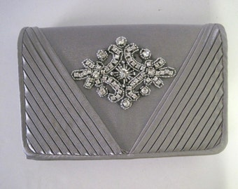 Grey Satin Clutch with a Rhinestone Appliqué  Bridesmaid Mother of the Bride Prom Accessories Purses Clutches Evening Bags