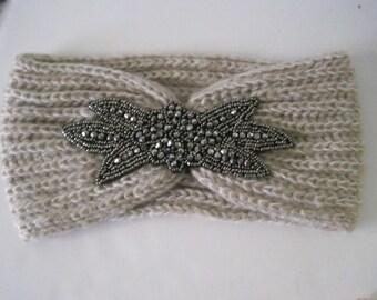 Tan Knit Ear Warmer Headband Head Wrap with Beautiful Beaded Appliqué Winter Hats Winter Accessories Headbands