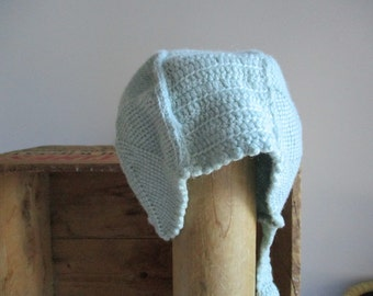 Antique Childs knitted Bonnet Vintage Toddlers Hat 1920s spiral pattern design newborn baby shower gift winter fall childrens cap BABY BLUE