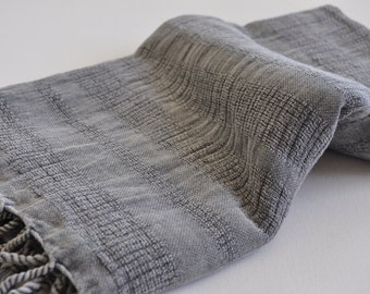 Turkish Towel Peshtemal towel Cotton Peshtemal Stone washed wicker striped Grey Towel pure soft