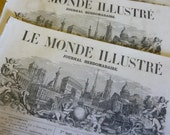 3 Antique Magazines, Journals, Newspapers,  Le Monde Illustre, French, Dated 1859 Original.