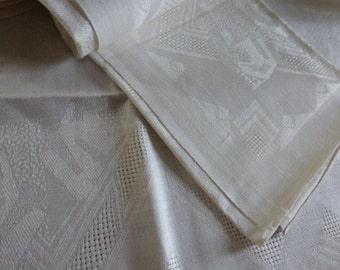French Vintage Unused  12 Napkins & Tablecloth, Unused Circa 1930's
