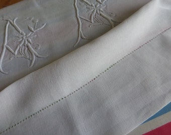 Antique Pure Linen Sheet, King Size, French For Reworking.