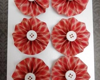 Rosette Magnets, Set of 6, Red Plaid