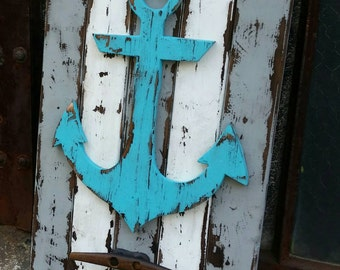 Rustic Anchor w/ boat cleat hanger, weathered wall decor