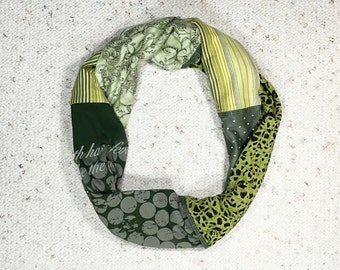 Infinity Scarf, Circle Scarf, Upcycled Scarf, Cotton Scarf, Echarpe