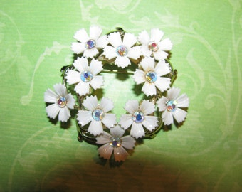 Vintage Silver Tone White Plastic Flowers With AB Rhinestone Brooch Pin