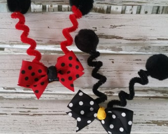 Lady Bug Antenna Clip - Ladybug Costume - Bumble Bee Antenna Clip or headband - Butterfly Antenna Clip or headband