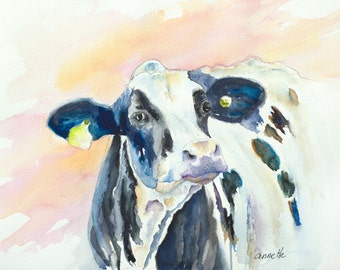 Holstein cow watercolor painting print loose watercolor dairy cow art canvas print farm animal watercolor  modern farm animal large canvas