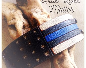 Blue Lives Matter Leather Cuff Bracelet