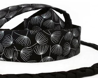 Mini Obi belt Tsukiyo - black and silvery belt with braided straps- 100% cotton-dandelion pattern