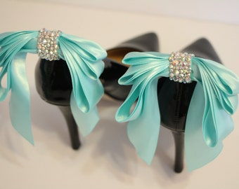 AQUA Bow Shoes clips -    aqua shoe clips with  rhinestones - aqua triple bow shoe clips