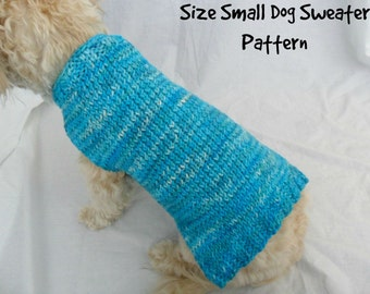 Simple dog sweater knitting pattern - PDF, small dog sweater