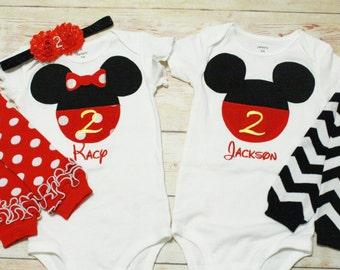 Mickey Minnie Twin Birthday Outfit / Twin Disney Birthday Outfit / 2nd Birthday Outfit / 1st Birthday Oufit / Classic Mickey Minnie Theme