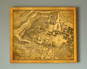 Old Map Of Vatican City, Large Framed Art, Ready To Hang - Large Gallery Wrap Canvas, Four colors and sizes to choose, FREE SHIPPING USA!