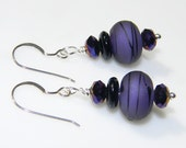 Purple Glow - Artisan Lampwork Earrings - Purple and Black