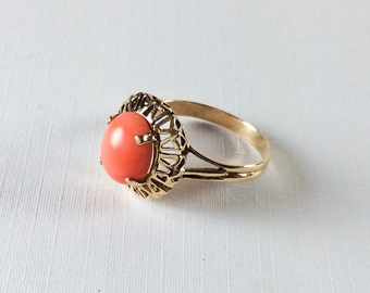 Coral Ring, 14K Gold Ring, Mid Century, Vintage Jewelry, Gift for Her VALENTINE SALE