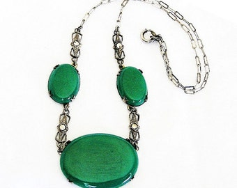 Art Deco Chrysoprase Necklace, Marcasite, Sterling Silver, Vintage Jewelry, SUMMER SALE