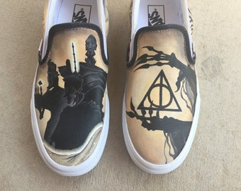 Custom Hand Painted Shoes - Tale of the Three Brothers - Harry Potter