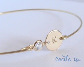 PERSONALIZED initial bangle II - Bridal gold initial crystal bracelet - Bridesmaids gift - Personalized jewelry - Custom initial bangle