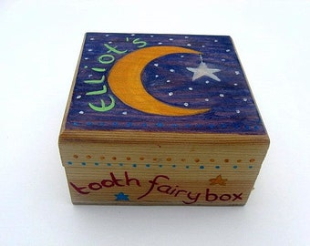 Hand-painted tooth fairy box, Personalised children's trinket box, Boys or Girls wooden tooth fairy box.