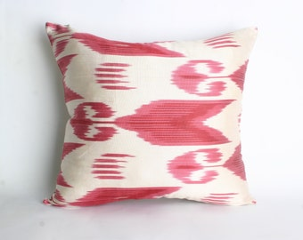 15x16 inch-Luxurious ikat Pillow,Traditional Handmade Pillowcase, Modern Silky Decorative Pillow For Couch