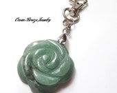 Zipper Pull, Purse Charm, Backpack Tag, Key Chain - JADE FLOWER PENDANT