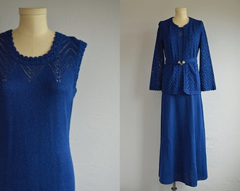 Vintage 70s Maxi Dress / 1970s Blue Lace Knit Dress with Matching Pointelle Cardigan