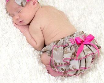 Nametape Ruffled Diaper Cover-Marine Corps, Army, Navy, Air Force, Coast Guard