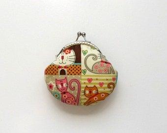 Cute Little Kitty  Handmade Coin Purse - Birthday Gift -  Stocking Stuffer - Holiday Gift