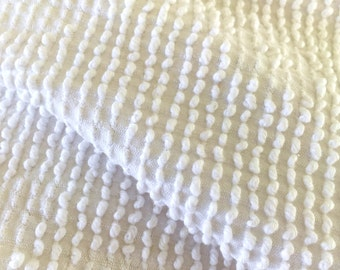 Chenille White Cotton Vintage Fabric 2 pieces 32 x 54,  23 x 30 a
