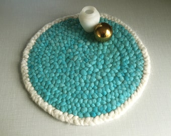 Roving Hand Braided Mat, Aqua Wool Small Rug