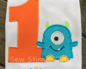 Personalized Appliqued/Embroidered First Birthday Monster Shirt