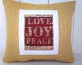 Holiday decor, christmas pillow, gold pillows, burlap christmas, decorative pillows, farmhouse style, burlap pillows,