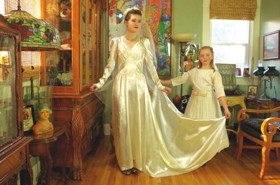 Glamorous 40's Beaded Bridal Gown . Vintage Wedding . Ivory Creme Slipper Satin . Ruched Bodice . Sweetheart Neckline .Train .Hollywood