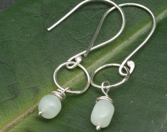 Serpentine and Sterling Silver Circle Earrings