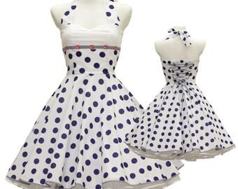 50's vintage dress full skirt Maritim white navy Polka dots custom tailor made after your measurements