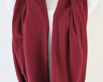 ON SALE Classic Maroon Knit Infinity Scarf, Loop Scarf, Circle Scarf